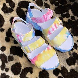 Tye Dye platform sandals
